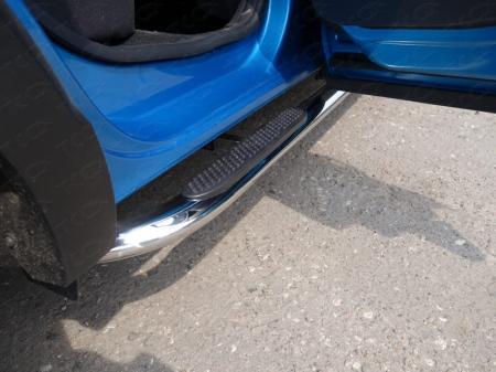 Renault Kaptur 2016- Пороги овальные гнутые с накладкой 75х42 мм